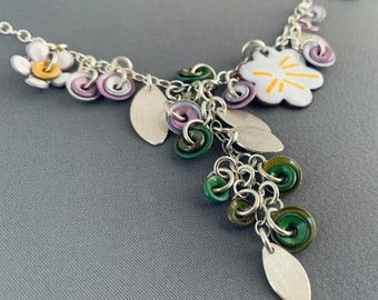 SMaddockdesigns OOAK Spring Enamel Sterling Silver Necklace Floral FREE SHIPPING