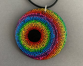 SMaddockDesigns Dot Painted Wood Pendant/Necklace