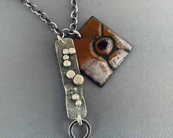 SMaddockdesigns OOAK Enamel Granulation Sterling Silver Necklace FREE SHIPPING