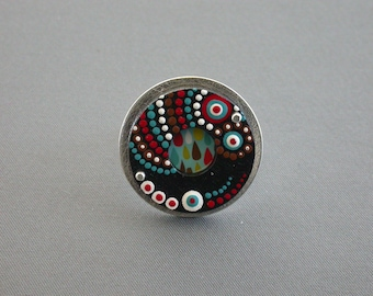 SMaddock OOAK Sterling Silver w/Wood OCD Dots Ring with Recycled Gift Card
