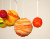 Solar System Mobile - Planets - Eco Friendly - Natural - Felted Wool - Baby or Child Mobile