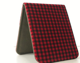 Mens Minimalist Wallet / Slim Bifold Wallet / Lumberjack Plaid / Vegan