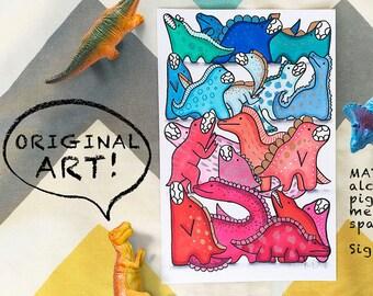 Dinosaur Original Art, OOAK Artist Illustration, Kids Room Wall Art, Nursery Decor, Copic Marker Art, Home Decor, Nursery Wall Art