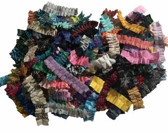 Assortment of 25 or 50 Fabric Ruffles for handmade journals, Junk Journals, Tags, Pockets, Other Ephemera