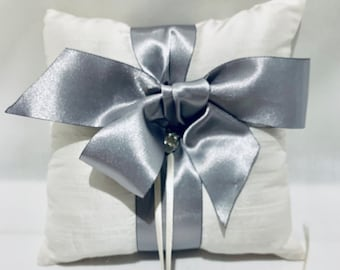 Silk Ring Bearer Pillow Silver Ribbon - Wedding Accessories - Bridal Gift - Something Old