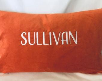"""Velvet Custom Pillow - Monogrammed Pillow - 20 x 12"""" Pillow - Realtor Closing Gift - Modern Home Decor"""