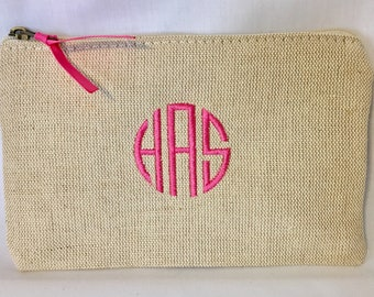 "Personalized Jute Cosmetic Case - Monogrammed Makeup Bag - Bridesmaid Gift - Custom Makeup Bag - Travel Bag 5.5"" x 8.5""- Pencil Case"