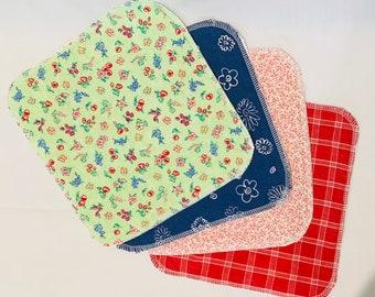Organic Flannel Reusable Napkins - Reusable Wipes - Lunchbox Napkins - Retro Cotton Napkins - Organic Wipes - Garden Theme Napkins