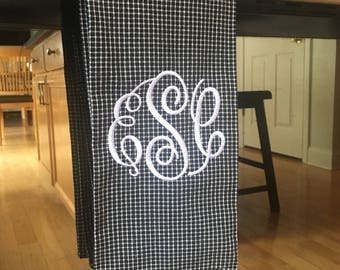 Monogrammed Dish Towel - Black Check Cotton Dish Towel - Farmhouse Kitchen Towel - Wedding Gift - Monongram for Her - Gift for Her
