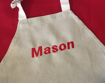 Red Monogrammed Childrens Apron - Little Helper Apron - Cooking with Kids Gift - Personalized Childrens Apron