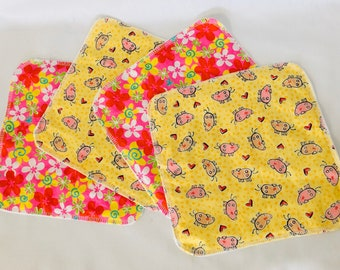 Organic Flannel Reusable Napkins - Pig and Floral Napkins - Reusable Wipes - Lunchbox Napkins - Small Cotton Napkins - Organic Wipes