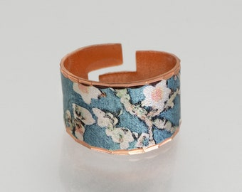 Copper Ring, Van Gogh ALMOND BLOSSOMS Ring, NEW Vibrant Color, Pure Copper Ring, Van Gogh Ring, Handcrafted Copper Art Ring