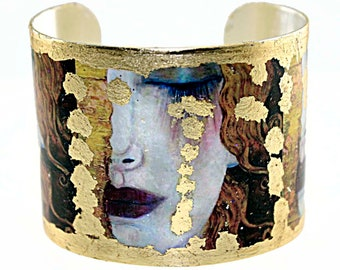 Photo Cuff, Gold Leaf Jewelry, Altered Art Jewelry, Hand Gilded Gold Leaf Klimt Crying Lady