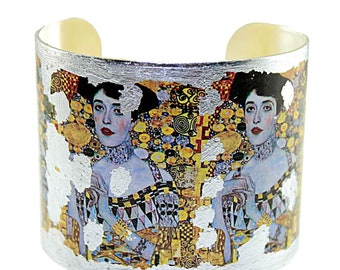 Photo Cuff, Gold Leaf Jewelry, Altered Art Jewelry, Hand Gilded Silver Leaf Klimt Adele Bloch Bauer