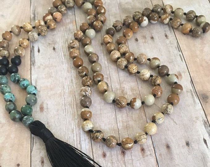 Featured listing image: African Turquoise Onyx & Picture Jasper Hand Knotted 108 Bead Gemstone Mala