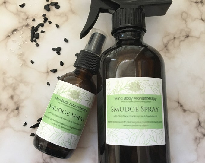 Featured listing image: Smudge Spray Clearing Room spray Clary Sage, Frankincnese & Sandalwood Quartz and Obsidian Infused Crystals. 8 oz. Room or 2 oz. Personal