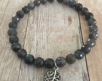 Smoky Quartz 6mm Beaded Faceted Gemstone Bracelet with Leaf Charm Accent