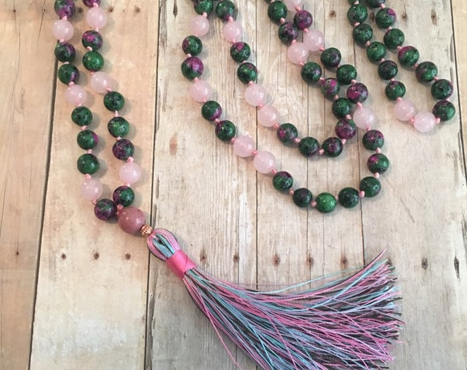 Featured listing image: Rose Quarts and Red Agate 108 Bead Hand Knotted Mala Necklace
