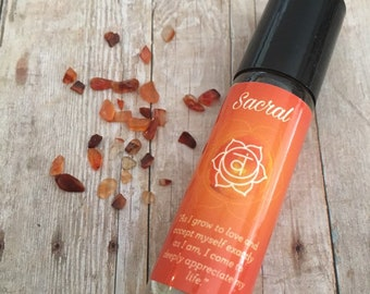Sacral Chakra Essential Oil Blend with Carnelian Crystals, Cedarwood, Patchouli, Marjoram and Wild Orange Oils
