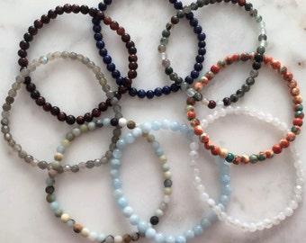 Mini Crystal Gemstone Bracelet Moonstone 4mm Pick your Size