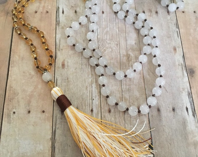 Featured listing image: White Jade & Yellow Quartz Hand-Knotted 108 Bead Gemstone Mala