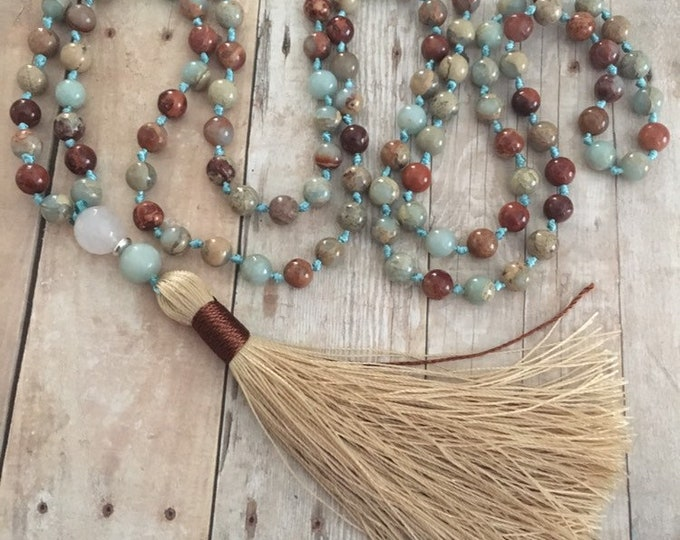 Featured listing image: Aqua Terra Jaspers Hand Knotted Necklace 108 Mala Bead Necklace Tassel Necklaces Yoga Mala meditation Jewelry Prayer Necklaces