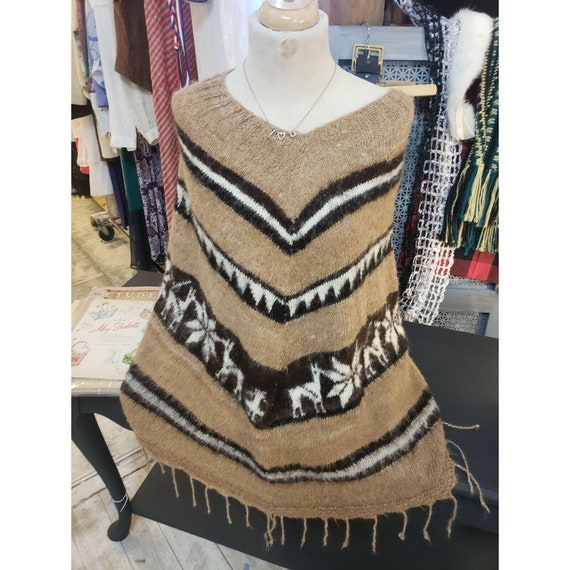 Vintage Wool/Mohair Poncho Cape 1960s handmade Azt