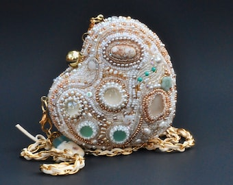 Beaded handbag - heart shaped clutch box - white and gold