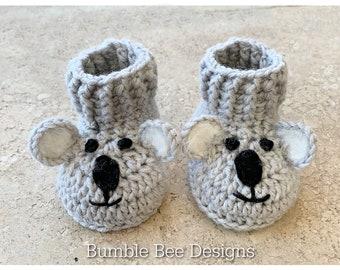 Koala Booties, Crochet Baby Booties That Stay On, Baby Slippers,  Light Grey Koala booties, Soft Australian Merino wool, Australian Made