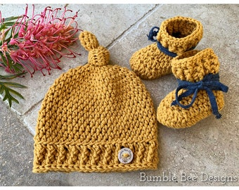 Pure Cotton Mustard Baby Booties & Top Knot Beanie, Mustard with cotton ties for stay on booties,  Crochet beanie, Crochet booties, NEWBORN