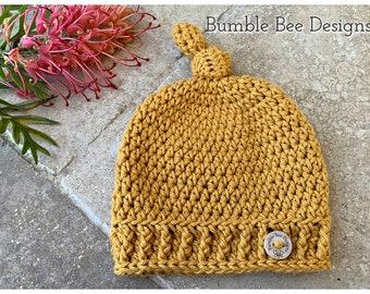 Pure Cotton Mustard Top Knot Beanie,  Crochet beanie, Crochet hats, NEWBORN - Toddler sizes, baby shower gift, 100% Australian Cotton
