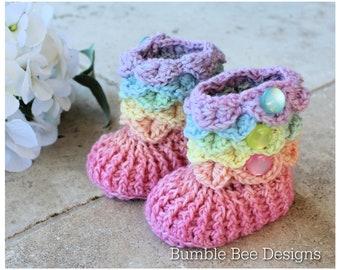 Pastel Rainbow Baby Booties,  Baby Shoes, Crochet Baby Booties,  Rainbow Crib Shoes, 0-6 month, Crocodile Stitch booties