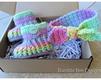 Rainbow Baby Booties & Headband,  Baby Shoes, Crochet Baby Booties,  Rainbow Crib Shoes, Baby Gift, Baby Shower, rainbow booty, Pastel