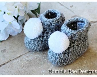 Crochet baby booties, Crochet Pom Pom booties, Tweed Grey acrylic yarn, baby booties, crochet booties, handmade, Pom pom baby