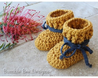 Crochet Baby Booties,  Pure Cotton Baby Shoes, 100% cotton in Mustard  Crib Shoes, Newborn - 12 months, Baby Gift, Baby Shower, Baby booty
