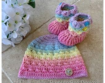 Crochet Baby Booties & Hat - Baby Beanie - Baby Hat -  Rainbow Baby Booties  - Crochet Hat - Crocodile Stitch baby booties - Pastel Rainbow