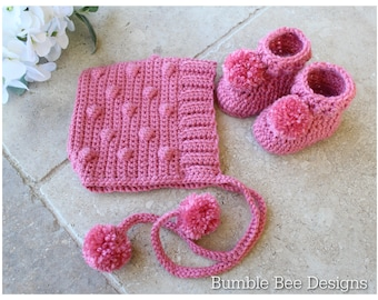 Crochet Baby Bobble Bonnet & Pom Pom Booties in Strawberry pink, Non Pilling Acrylic yarn , 0-3 mths, baby gift, hat, bonnet, READY TO SHIP