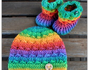 Baby Beanie - Baby Hat - Baby Booties – Wool Baby Shoes - Rainbow Baby Booties  & Hat - Beanie
