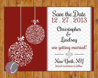 save the date chevron christmas wedding card ornate ornament company christmas holiday party red white black diy printable 5x7 jpeg 80