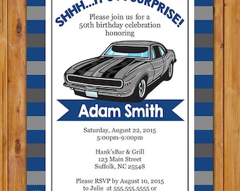 Teen Surprise Car Birthday Party Invite Blue Muscle Car Etsy