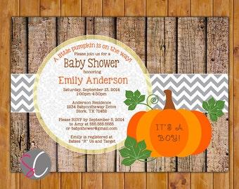 Pumpkin Baby Shower Invite Rustic Autumn Shower Fall Baby Shower Printable Invitation Fall  Autumn Invitation (PI-78)