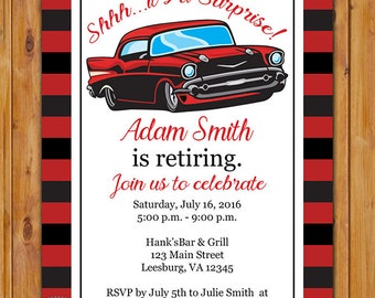 Adult Surprise Classic Car Retirement Party Invite Red Car Masculine Man Red Grey Stripes Invitation Stripes Birthday 5x7 Digital JPG (557)