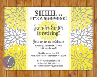 Yellow White Flowers Surprise Retirement Party Celebration Invitation Grey Floral Burst 5x7 Digital JPG DIY Printable (449)