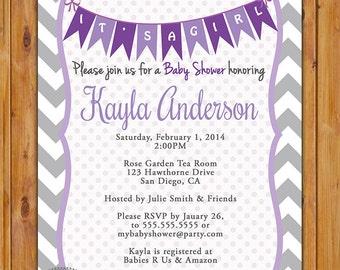 Purple Lavender Baby Shower Invitation Grey Chevron Pennant Bunting Invite It's a Girl Baby Shower Invitation 5x7 Digital JPG (220)