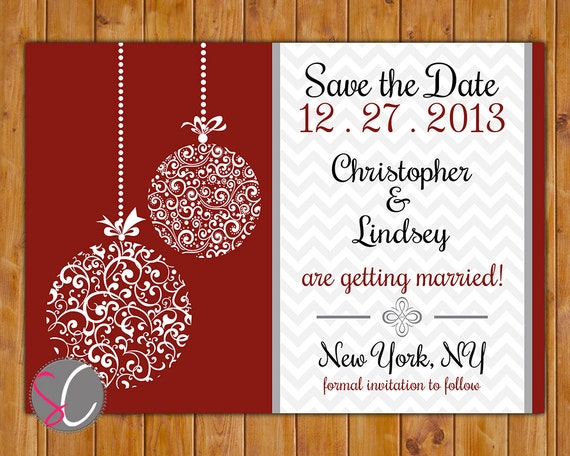 save the date chevron christmas wedding card ornate ornament etsy