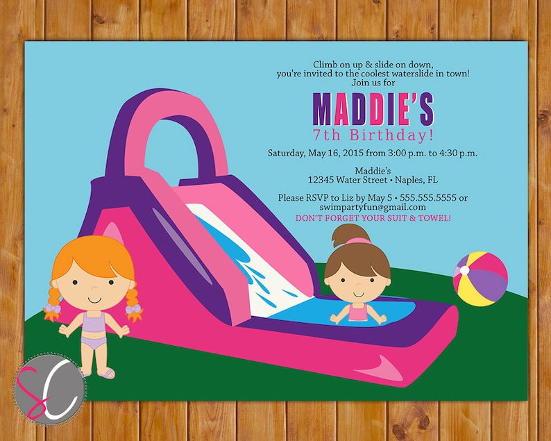 Waterslide Birthday Party Invitation Girls Pink Pool