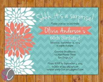 Teal Coral Surprise Birthday Invitation Floral Burst Invite 40th 50th 60th Milestone Adult Birthday 5x7 Digital JPG DIY Printable (332)