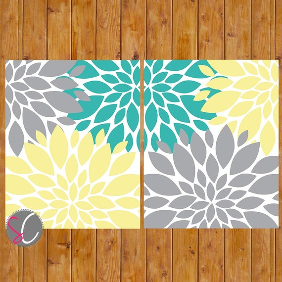 Floral Flower Burst Gray Yellow Teal Wall Baby Decor ...
