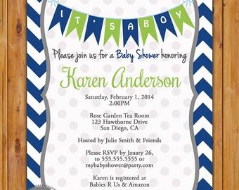 Navy Blue Lime Green Baby Shower Invitation Navy Chevron Pennant Bunting Invite It's a Boy Baby Shower Invitation 5x7 Digital JPG (146)