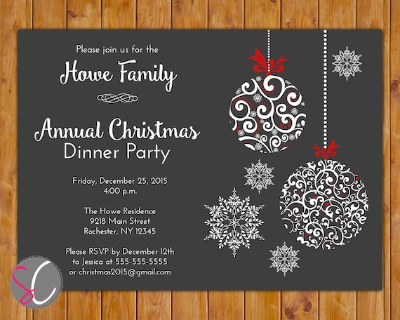 Annual Christmas Dinner Party Invite Celebration Holiday Etsy